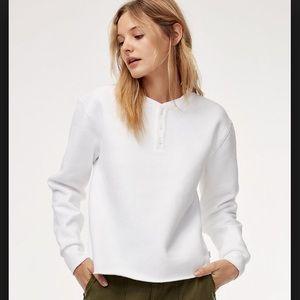 Aritzia White Henley Sweatshirt